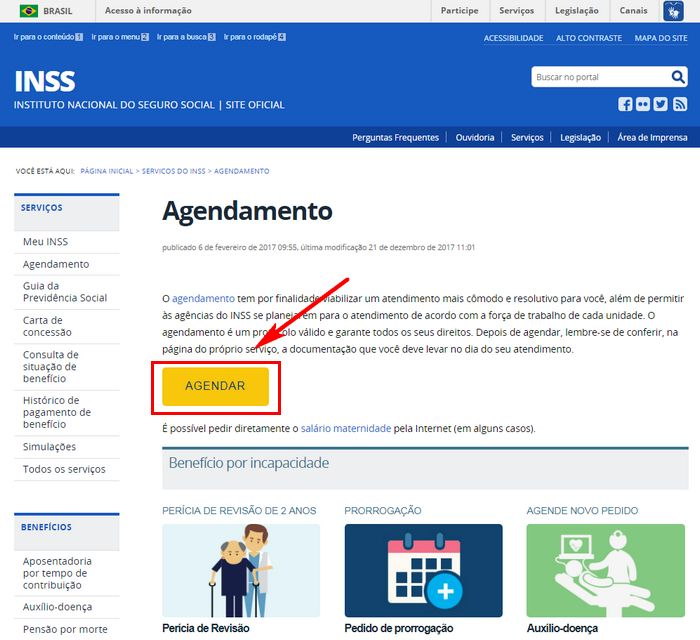 Agendar INSS pela Internet