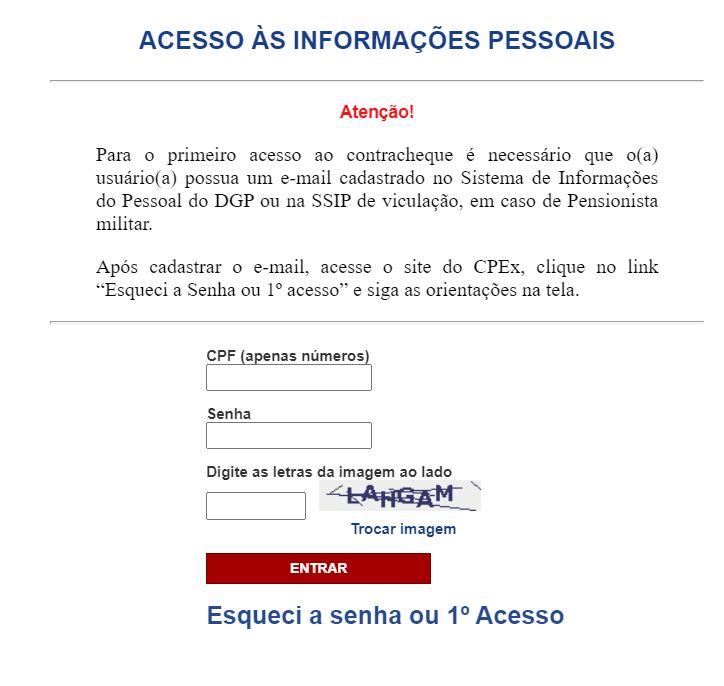 Como fazer login para acesso ao CPEX contracheque 2021